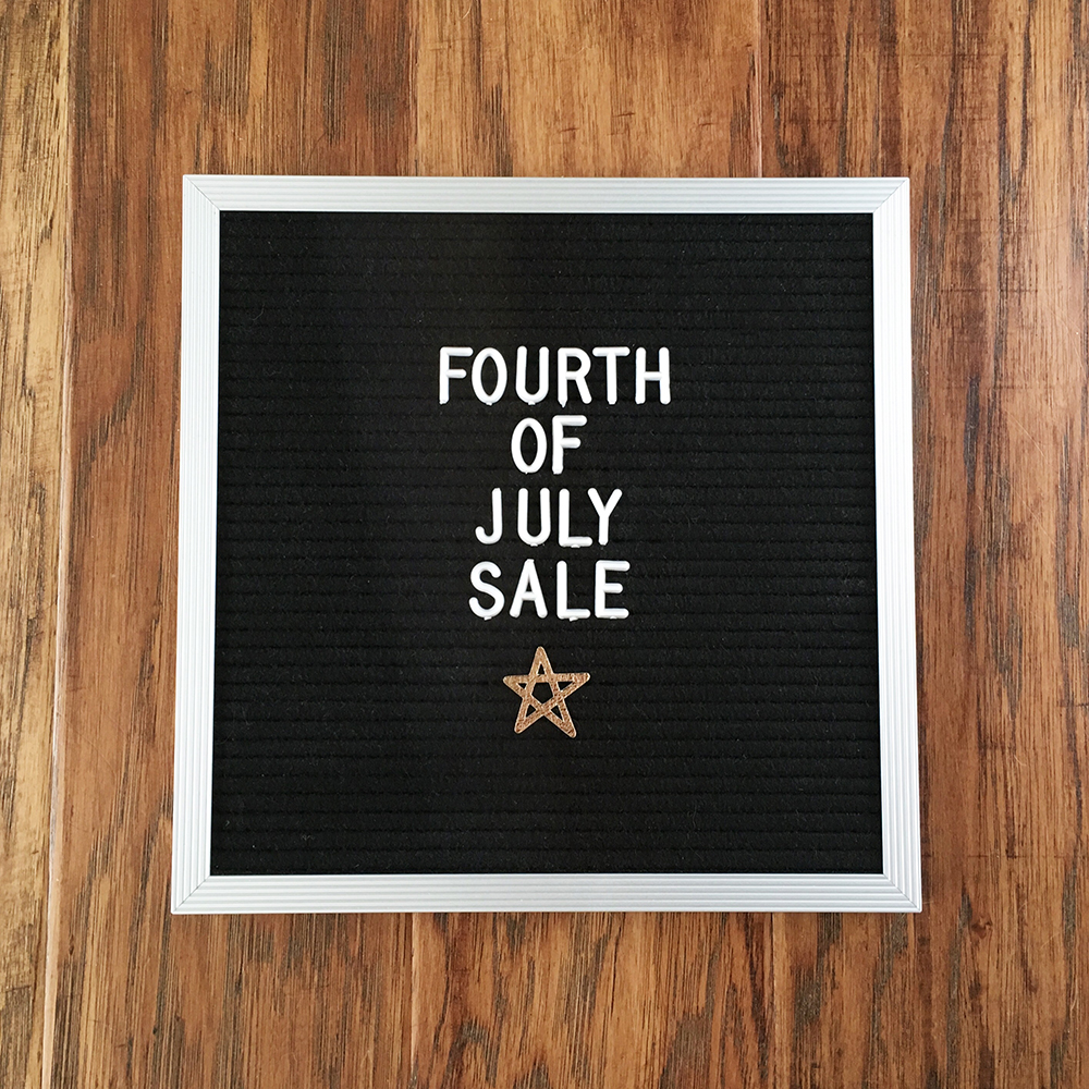 fourth of july sale letterboard web